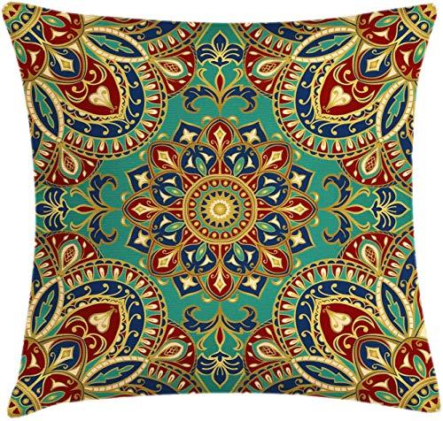 Mandala Throw Pillow Cojín, patrón con motivos medievales orientales de estilo Mandala, étnico oriental, funda de almohada decorativa con acento cuadrado, verde azulado índigo , (16 'x16' / 40x40cm)