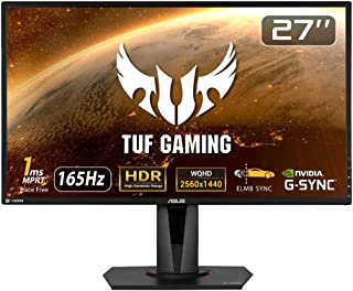 ASUS TUF Gaming VG27AQ HDR Gaming Monitor – 27 inch WQHD (2560x1440), IPS, 165Hz (Above 144Hz), Extreme Low Motion Blur Sy...