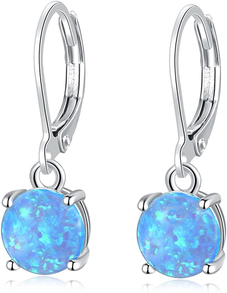CiNily Round-Cut Opal Dangle Ranking TOP7 Earrings Industry No. 1 Rhodium P Green Fire