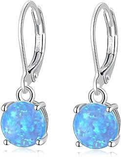 Round-Cut Opal Dangle Earrings, Blue/White/Pink/Green/Black Fire Opal Rhodium Plated Women Jewelry leverback Gems Drop Earrings