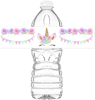 Magical Unicorn Bottle Wraps Stickers Labels for Water Bottles for Baby Shower Birthday Party Favors Set of 24
