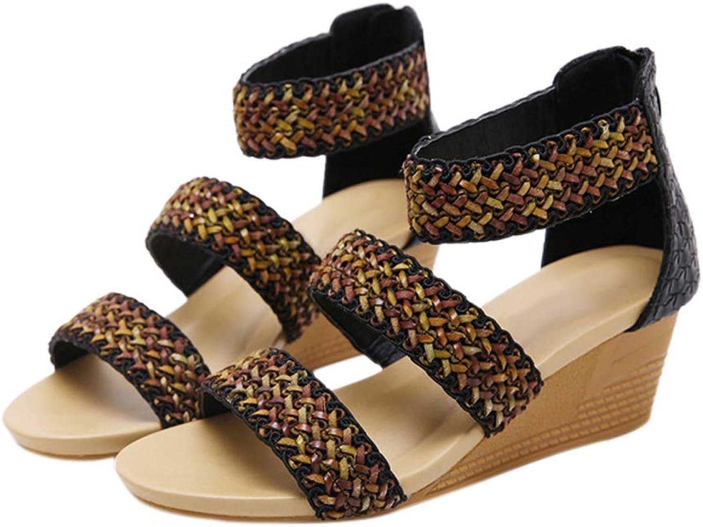 Janjunsi Womens Gladiator Sandals - Braided Ankle Strap Low Wedge Heel Back Zipper Summer shoes