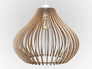 Wood Ceiling Pendant Light, Modern & Contemporary Hanging Lamp with Adjustable Cord for Kitchen, Dining or Living Room, Bedrooms or Office Space Max 60 Watt