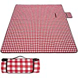 MIRACOL Picnic Blanket, 80' x 80' Extra Large Waterproof Sandproof Outdoor Blanket for 4-6 Adults, Foldable Portable Plaid Beach Rug Mat for Park Picnics Camping Travel Outdoor Concerts (Red)