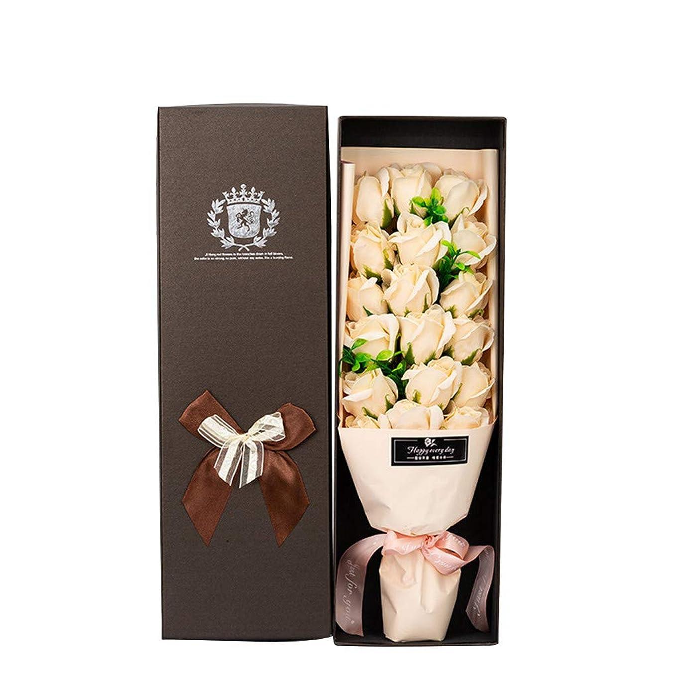 光沢のある扇動指令造花 枯れない花 ソープローズ フラワー ジュエリー 収納 ギフト ボックス バレンタイン/母の日 ギフト 18本セット