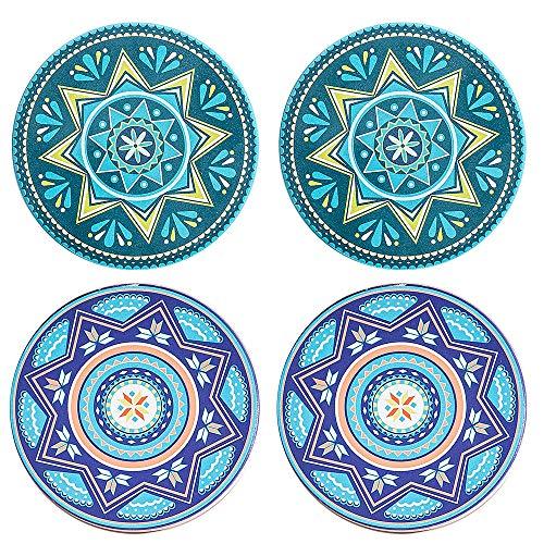 SAYOK assorbe i sottobicchieri di Ceramica assorbenti della Bevanda, Stampa di qualità Antisdrucciolevole con Il Supporto di Tazza Rotondo a 4 Pollici.(Multicolore 4pz)