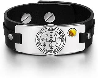 Archangel Uriel Sigil Magic Powers Amulet Tag Tiger Eye Gemstone Adjustable Black Leather Bracelet