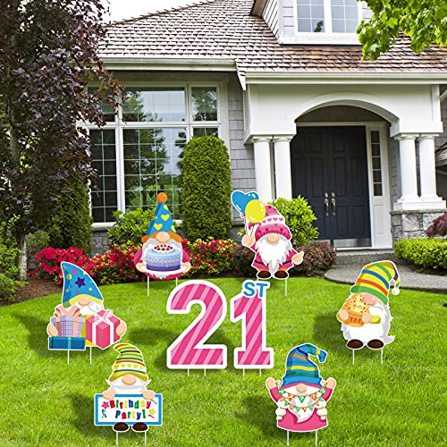 JOELELI 8pcs Happy 21st Birthday Party Gnomes Yard Signs-Great 21st Birthday Gifts for Girls,Women,Men,Photo Props,Colorful Gnomes Yard Sign with 16 Stakes for Outdoor Lawn Garden