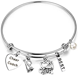 Cheer Coach Gift Cheerleading Coach Charm Bangle Bracelet Cheer Jewelry for Cheer Coaches