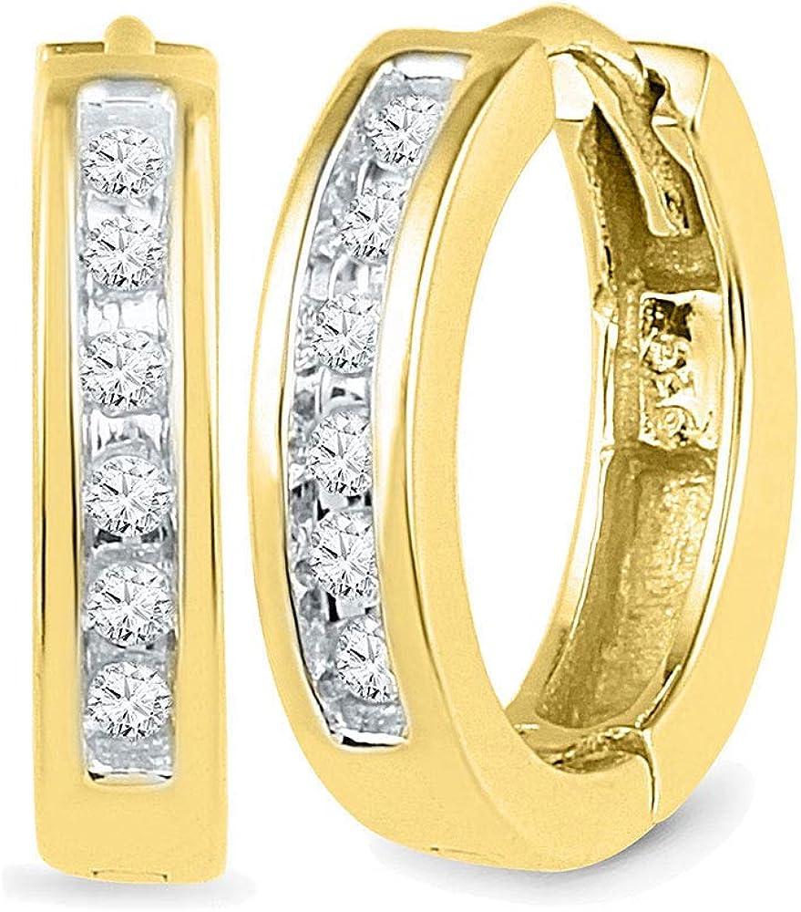 10kt Yellow Gold Round Diamond Hoop Earrings 1/8 Cttw