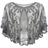 ArtiDeco - Chal de los años 20 para vestidos de noche, estola para bodas, mantón para fiestas o disfraces gris Talla única