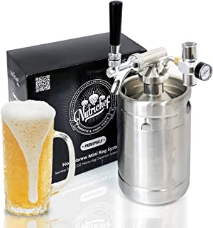 Pressurized Beer Mini Keg System – 64oz Stainless Steel Growler Tap, Portable Mini..