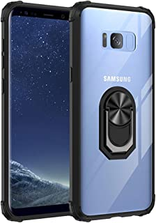 Lovelitom Galaxy S8 Plus Case,[Military Grade] Clear Crystal Drop d Protective Case with 360 Matal Magnetic Ring Car   Kic...