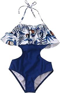 d9aadf78f7a40 Girls Swimsuit Falbala High Waisted Bikini Set Halter Neck Swimwear Dots  Printing Bathing Suits