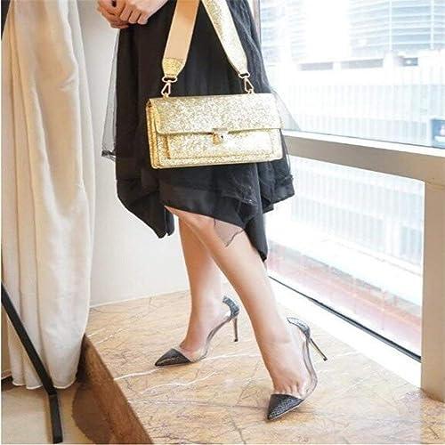 Hhoro zapatos de Corte Consejos Finos con Tacones Altos mujer era Delgada, Plateada y Salvaje Marea Salvaje, zapatos zapatos de Boda de mujer (Color   38, tamaño   blanco 8CM)