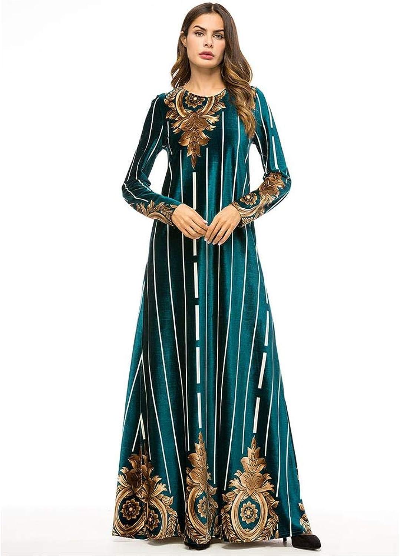 MAZF Women Dress Long Sleeve Fashion Boutique Print Big Dress Dress Dark Green
