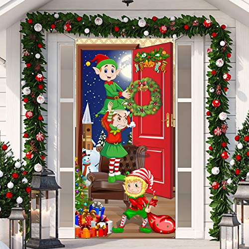 Christmas Door Cover, Funny Elves Door Backdrop Fabric Santa Backdrop Christmas Background Banner Xmas Door Hanging Covers Photo Booth Props for Christmas Party Decorations, 70.9 x 35.4 Inch