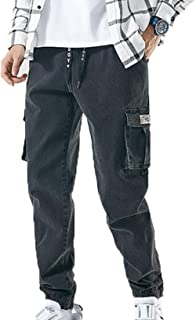 LanfengEU Jeans da Uomo Streetwear Pantaloni da Jogging Eleganti Pantaloni Cargo Larghi Multitasche Pantaloni da Uomo in D...