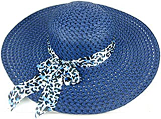 Womens Stylish Wide Brimmed Summer Outdoor Straw Sun hat Cap for Beach Swimming Traveling