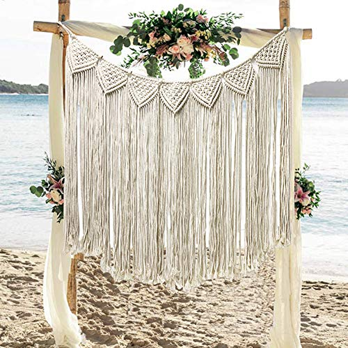 Macrame Wall Hanging Large Curtain Fringe Handmade Woven Bohemian Wall Hanging for Boho Wedding Living Room Gallery Bedroom Wall Decoration