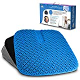 Gel Seat Cushion for Hip Pain, Long Sitting. Large Size Honeycomb Sciatica Pillow. Great for Pressure Relief, Office Chair, Wheelchairs, Car. 2 Removable, Non-Slip and Washable Covers.