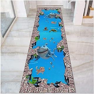 HAIPENG Blue Ocean World Runner Rug for Hallway, 3D Non Slip Entrance Mat for Corridor Entryway Hall Bedroom, Washable, Cu...