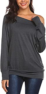 Qearal Women's Off Shoulder Batwing Sleeve Loose Pullover Sweatshirt Tunic Tops