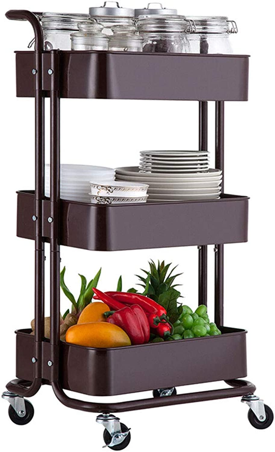 XLong-Home Kitchen Storage Trolley Cart with Storage Baskets and Wheels Fruit Vegetable Rack - Carbon Steel