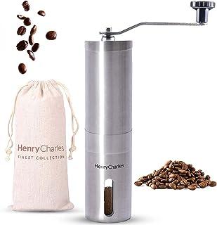 Henry Charles Manuell kaffekvarn med justerbar storlek på kaffebönor & resväska - Kaffekvarn med handkvarn - Perfekt för f...