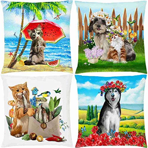 QUEMIN Decorative Chair Throw Pillow Covers Cute Dog and Cat Double Sided Print Summer Animal Theme Pillow Cases Standard Size for Sofa Home Decor 20x20 inches