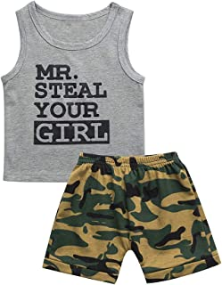 Fozerofo Toddler Baby Boy Summer Clothes Mr Steal Your Girl Printed Vest Camouflage Shorts Outfit Set