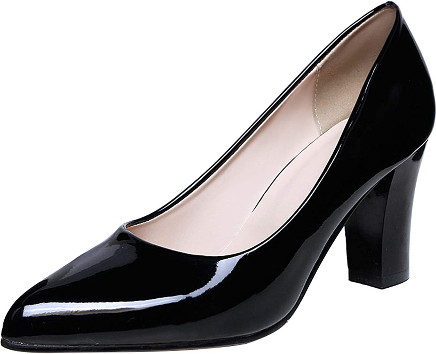 Sekesin Women's Block Heel Patent Leather Closed Toe Pumps Office Dress Pump shoes