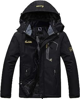 R RUNVEL Men's Waterproof Jacket Windproof Outdoor Multi-Pockets Winter Coats