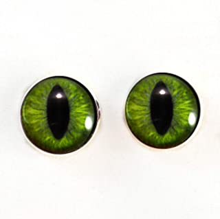 10mm Sew On Dark Lime Green Cat or Dragon Glass Eyes Shank Buttons with Loops - for Staffed Animals, Plushie Toys, Art Dolls, Jewelry Making, Taxidermy, and More