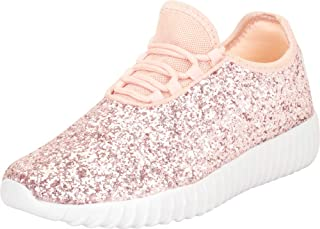 Cambridge Select Girls' Low Top Glitter Encrusted Lace-Up Fashion Sneaker (Toddler/Little Kid/Big Kid)