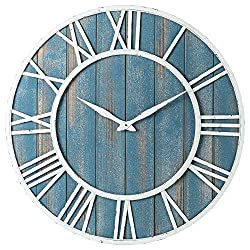 Coastal Wall Clock - Metal & Solid Wood Whisper Quiet Ticking Weathered Beach Coastal Blue Wall Clock (Coastal Blue, 30-inch)