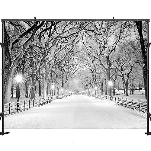 7x5ft Night Winter Snow Photography Backdrops Background Street Light Chair Photo Studio for Wedding Backdrop JXUS-YY00291