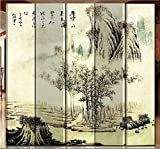 Back to 20s Oriental Style Foldable Panel Shoji Screen Room Divider, Chinese Painting: Mountain and River (5-P Mountain View)