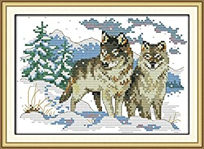 Wolf Abillyn Embroidery Cross Stitch Kits Wolf and Dream Catcher Stamped with Printed Pattern Starter Kit