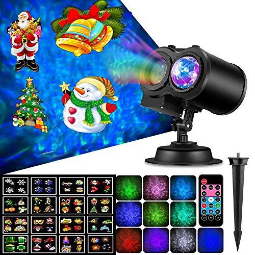 Womdee Luces de Proyector de Navidad de Halloween, 2019 Nuevo Impermeable Control Remoto Lámpara de proyector de Copo de Nieve con 16 Patrones de Diapositivas Proyector Navidad LED Ligero Decoración