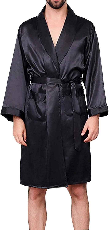BridalAffair Men's Summer Luxurious Kimono At the price Max 88% OFF of surprise Robe Long- Soft Satin
