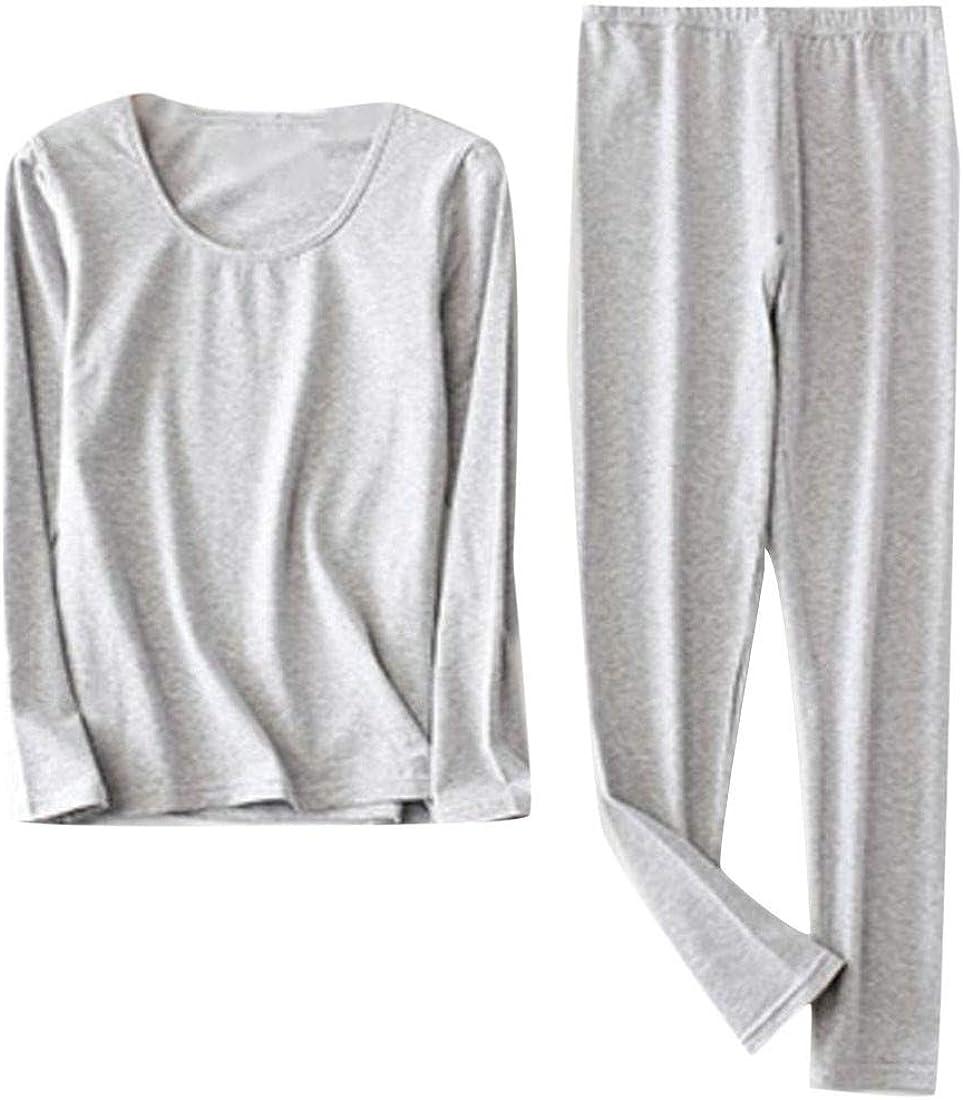 XTX Womens Plus Size Long John Set Soft Crewneck Autumn Thermal Underwear Light Grey XXXXXL