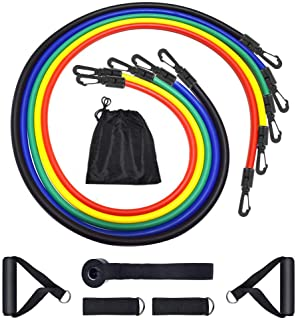 SKY-TOUCH Portable Exercise 11Pcs Resistance Band Set Stackable Up to 150 Lbs (5 Stackable Exercise Bands with Door Ancho...