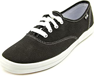 Keds womens Champion Canvas Sneaker, Black, 6.5 Wide US