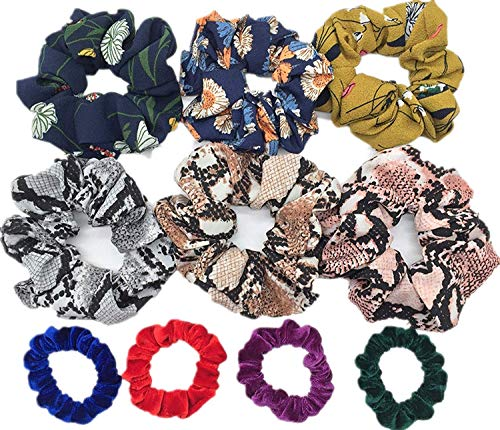 OULN1Y Stirnband 10pcs/lot women's velvet hair Scrunchies Hair Tie Hair Accessories Ponytail Holder leopard shinny glitter strips,PJ089-10PCS