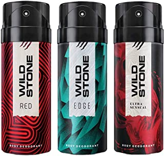 Wild Stone Edge, Red and Ultra Sensual Deodorant For Men 150 ML Each (Pack Of 3)
