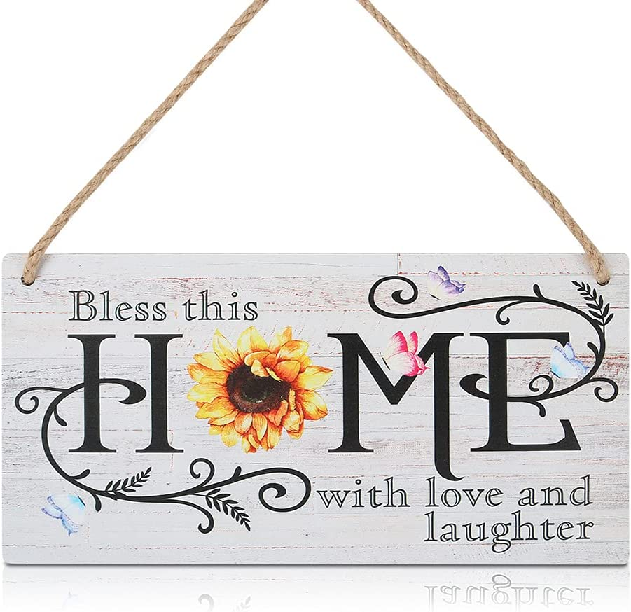 CHDITB Sunflower Rustic Wooden Home Sign Plaque, Bless This Home with Love and Laughter Inspirational Saying Hanging Wooden Door Decor(11