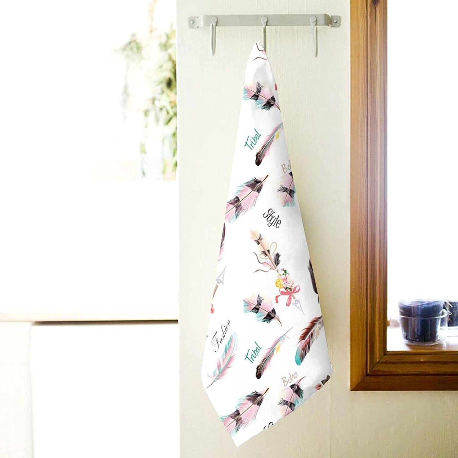 Bath Towel Ethnic Fashion Illustration Floral Selling and selling specialty shop with Feathers Deta