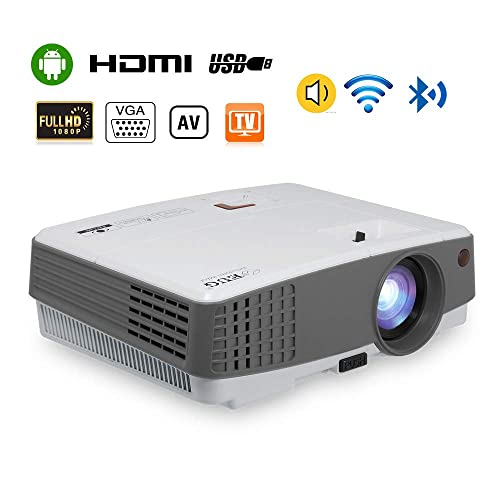 2019 Portable Wireless Bluetooth LCD Projectors 3300 Lux Mini Smart TV Projector Home Theater with HDMI USB Aux Audio VGA AV Android OS Support 720P 1080P for Gaming Outside Moive Night Smartphone