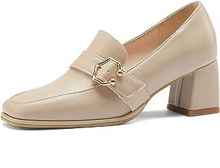 Women/'s MED punta quadrata tacco grosso Pelle Verniciata Cinturino Alla Caviglia Scarpe Da Sera Nuovo 65